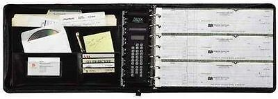 Business Check Book Binder 7 Ring 3-on-a-page Zippered Leather Look Vinyl Black
