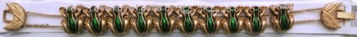 FROGS Slide Charm Bracelet new vintage goldtone green frog, toads