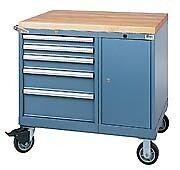 LISTA XSMMPNW0600-0703 - MPNW600 5-Drawer Mobile Work Center, Butcher Block Top 5 Drawer Mobile Workcenter