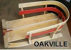 BABY SLED Oakville Up to 3 yrs Toboggan Sleigh Wooden Vintage A1 Staging Photography Winter Snow Christmas Red Oakville