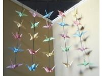 Wedding decorations - origami birds, decorated jars and large helium balloons