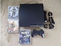 PS3 slim with games and accessories, plus controller