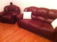 SOFA REAL LEATHER WITH SOFA CHAIR I can do delvery for extra cost