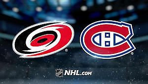 Billet Hockey Rouge Canadiens Hurricanes 125$/billet Valeur 162$