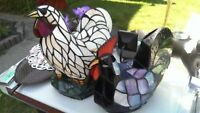 Rooster and Hen Stained Glass Accsent Lights