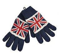 Joblot 30x Pairs Union Jack Full Finger Kids Gloves wholesale clearance stock