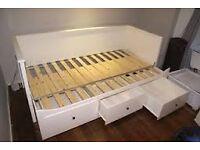Day-bed w 3 drawers/2 mattresses HEMNES White