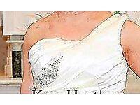 Ivory one shoulder wedding dress