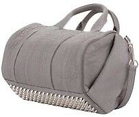 New ALEXANDER WANG DISTRESSED GREY STUDDED ROCCO HANDBAG