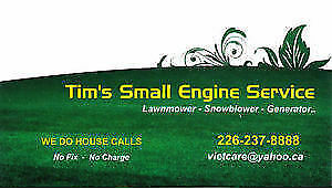 HOUSE CALLS - Mobile service snowblowers, lawnmowers