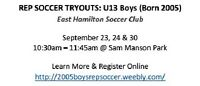 U13 REP SOCCER TRYOUTS - East Hamilton