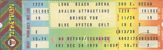 BLUE OYSTER CULT 1979 Unused Concert Ticket