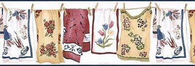 - Wallpaper Border Laundry Room Country Towels on Clothesline with Clothespins