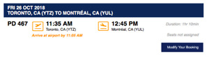 Plane Ticket from Toronto to Montreal Oct 26