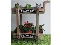 Wooden flower trolley