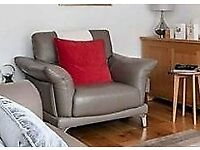 2 SEATER TAUPE/GREY LEATHER SOFA AND CHAIR