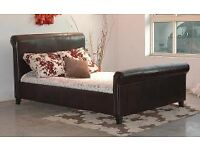 Leather Like Quality PU Double BED - In Stock Now - Available in Black/Brown - AJCOL com