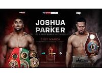 ANTHONY JOSHUA V PARKER (WITH RETURN COACH FROM MANCHESTER)