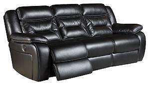 Black Leather Reclining Sofa