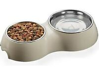 Stainless Steel, Double Bowl for Food and Water (for cats or small dogs)