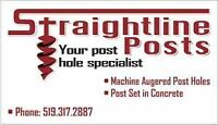Post hole digging **Call Straightline Posts Today**