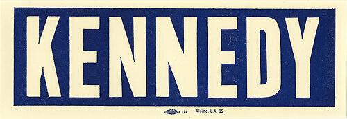 Vintage 1960 John F. KENNEDY Auto Window Sticker (2426)