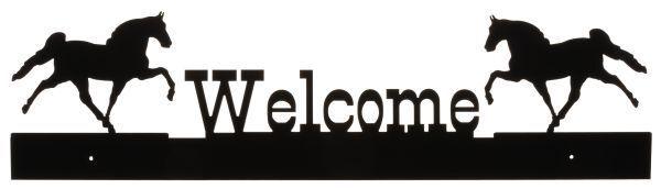 "28"" X 8""  Black Metal Walking Horse Welcome Sign"