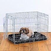 Dog Crate - double door, silver