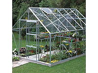 8x6 Aluminium Greenhouse (B&Q) still boxed, un-used with safety glass, shelves