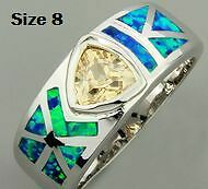 New- Pacific Blue Fire Opal/Morganite Sterling Silver Ring. Sz 8