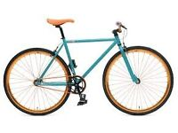 CHILL ORIGINAL FIXIE BIKE: turquoise-orange, 58 cm frame, 3-months old, zinc cable lock. 150 £