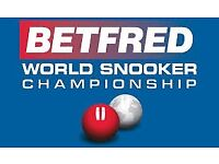 World Snooker Final Ticket - 2 pm Session - Monday 7th May 2018
