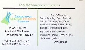 Saskatoon Sport District Playoffs for 55+  Provincial Games 2016