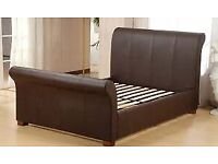 Real leather Brown Sleigh Double Bed Frame