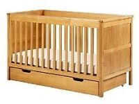 Marks & Spencer cot bed with storage drawer & mattress