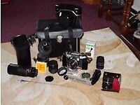 Film camera with lenses.