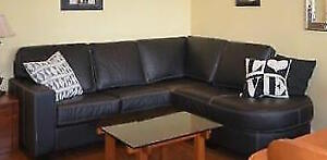 Leather Craft Italian Sofa Sectional with Chaise 100% Leather