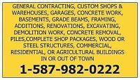 CUSTOM SHOPS & GARAGES, CONCRETE WORK, FRAMING,RENOS