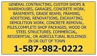 GENERAL CONTRACTING, CUSTOM HOMES,CONCRETE WORK, BASEMENTS,SHOPS