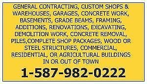 WE BUILD NEW GARAGES AND DEMOLITION OLD GARAGES, CUSTOM SHOPS,