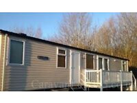 Prestige Caravan with decking to hire at 4* Hopton Holiday Village, Norfolk. Bookings to Oct 31st.