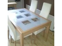 Extendable Beech & Glass Dining Table & 4 Chairs
