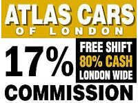 Minicab/Pco drivers required-17% Commission-Free Shift -80% Cash work -London Wide - Est since 1965