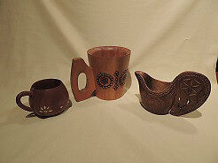 Ukraine Cup, Phillipine Cup & Austrian Jug hand made from wood.