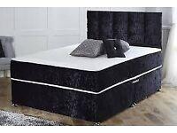 🎊🎁🎉Top Quality🎊🎁🎉Divan crush velvet Bed base with Optional mattress/headboard/drawers
