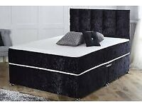 FURNITURE FOR SALE-Double & King Size Crushed Velvet Divan Bed Base W Opt Mattress-