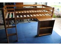 John Lewis Pine Cabin Bed with pull out desk & bookshelf.