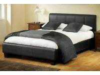 DOUBLE LEATHER BED AND MATTRESS NOW ONLY £99