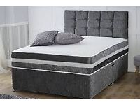BRAND NEW FURNITURE-- DOUBLE AND KING SIZE CRUSH VELVET DIVAN BED BASE w OPT MATTRESS-CALL NOW