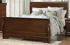 King Sleigh Bed in a Brown Cherry Finish FREE DELIVERY Regular Retail $1199 Starting bid: $503.00